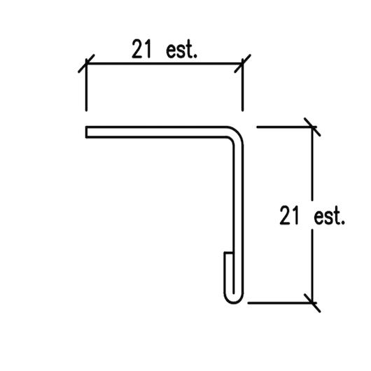 Profilo di finitura superiore o laterale 21×21 – barre da 3 mtl