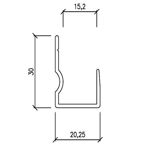 Profilo di partenza a pavimento 30x20x10 mm – barre da 3 mtl
