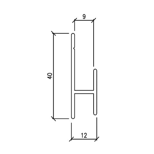 Profilo orizzontale di sostegno 40x12x21 mm – barre da 3 mtl