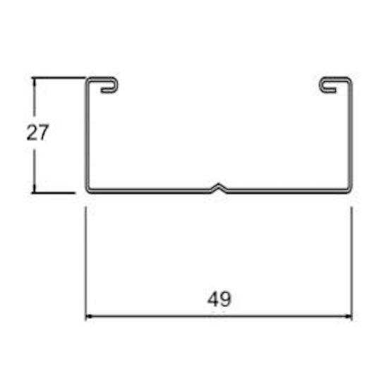 Profilo verticale per sottostruttura 49x27x3000 mm